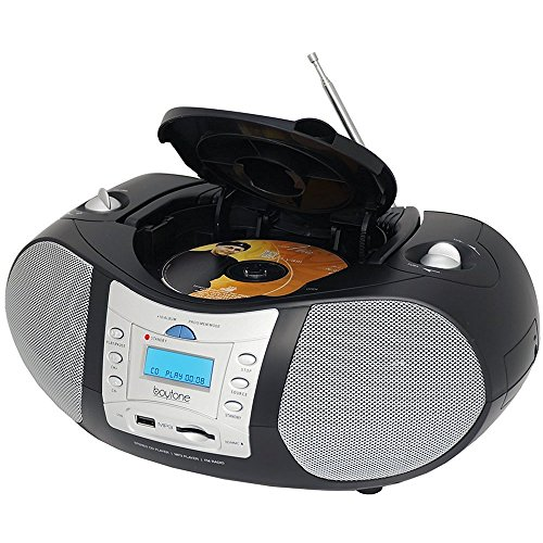 Boytone BT-6B CD Boombox Black Edition Portable Music System with CD Player & USB/SD/MMC Slot, Digital FM Radio with Auxiliary-in & Headphone Jack, AC/DC, 110/220