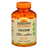 Sundown Naturals Calcium plus Vitamin D3, 1200mg, Softgels 170 ea (Pack of 12)