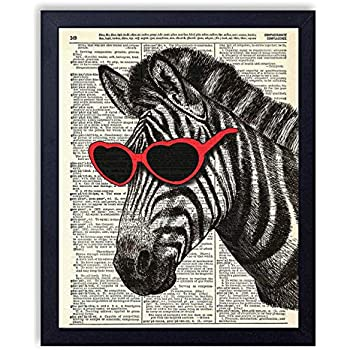 Zebra in Red Heart Glasses Vintage Wall Art Upcycled Dictionary Art Print Poster 8x10 inches, Unframed