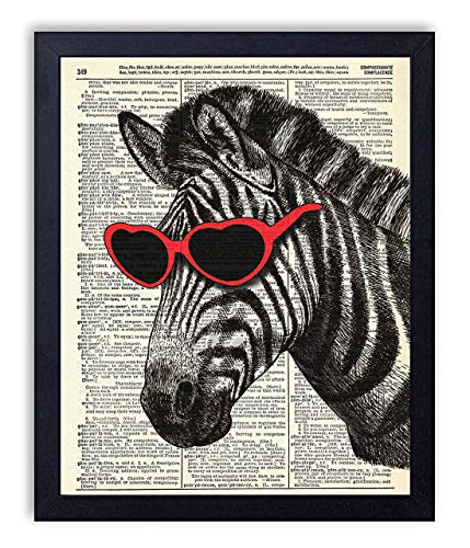(Zebra in Red Heart Glasses Vintage Wall Art Upcycled Dictionary Art Print Poster 8x10 inches, Unframed)