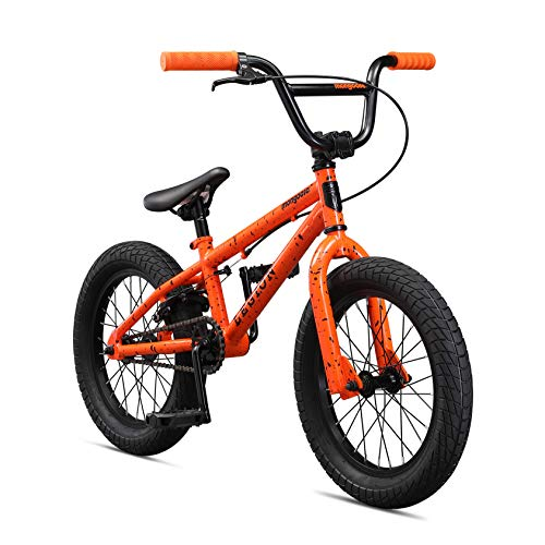 - Mongoose Legion L16 Freestyle BMX Bike for Kids, Featuring Hi-Ten Steel Frame and Micro Drive 25x9T BMX Gearing with 16-Inch Wheels, Orange