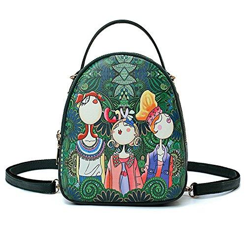 femmes sac à Top filles Green à main poignée bandoulière New sac PU sac Forest sacs Totes mignon Imprimer wqnYOxPv