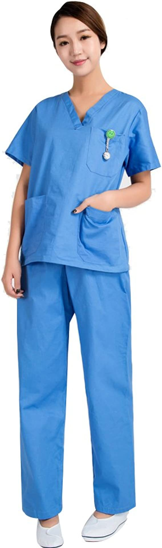 Free Fisher Camisa y Pantalón uniforme médico Unisex Mujeres Ropa para Enfermería, Azul L