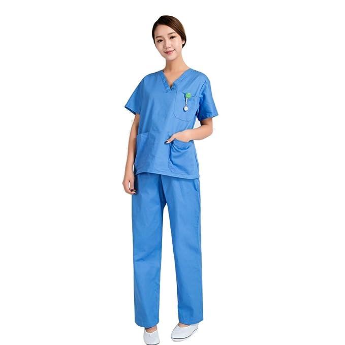Free Fisher Camisa y Pantalón uniforme médico Unisex Mujeres Ropa para Enfermería, Azul S