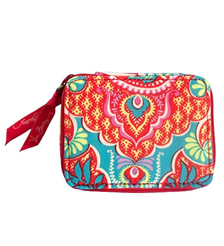 Vera Bradley Travel Pill Case in Paisley in Paradise with Solid Orange - Stores Outlets Vero