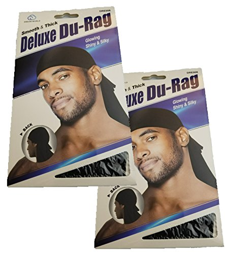 (Dream 2 Packs Deluxe Du-RAG Black - Smooth & Thick, Superior Quality, Stretchable, Wrinkle Free, 100% Polyester )