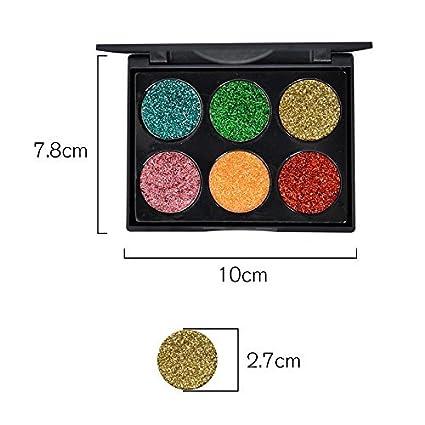 OFKPO 6 Colores Paleta de Maquillaje Profesional con Purpurina para Sombras de Ojos Brillantes,Labios y Uñas: Amazon.es: Electrónica