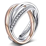 YL Sterling Silver Cubic Zirconia 3pcs Interlocked Stackable Eternity Ring Set-Size8