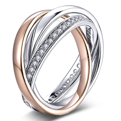 YL Sterling Silver Cubic Zirconia 3pcs Interlocked Stackable Eternity Ring Set-Size9