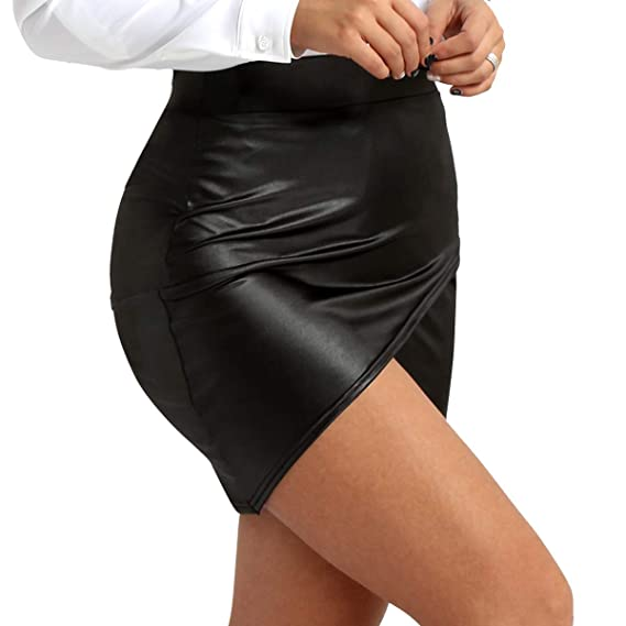 iiniim Falda Corta Mujer Sexy Mini Falda de Cuero Wetlook Parte ...