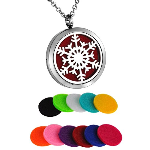 HooAMI Aromatherapy Essential Oil Diffuser Necklace - Stainless Steel Snowflake Round Locket -