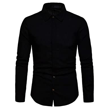 Mens Business Casual Fashion Pure Color Long Sleeved Single Breasted Shirts Top Men Shirts