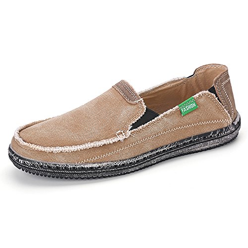 VILOCY Men's Slip On Deck Shoes Canvas Loafer Vintage Flat Boat Shoes (10 D(M) US, Brown)