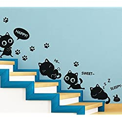 TOTOMO Cute Cats Window And Wall Decals Stickers Wall Décor Art