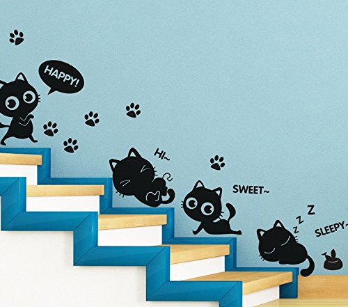 TOTOMO Cute Cats Window And Wall Decals Stickers Wall Décor Art (Cute Halloween Songs For Kids)