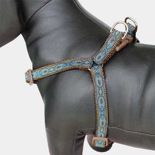 Blue Brocade Step In Dog Harness