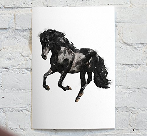 Watercolor Black and White horse - An Unframed Canvas Paper / Watercolor-Style, Contemporary & Modern Portrait Wall Art digital Print - by MrNobody (signed with certificate of authenticity) by Urkina Gallery