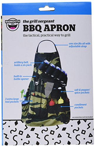 BigMouth Inc The Grill Sergeant BBQ Apron, Cotton Camouflage Gag Gift for Cookouts, Adjustable Strap, Pockets and Bottle Opener Included by BigMouth Inc (Image #1)