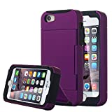 iPhone SE Case, Pandawell™ [Card Slot] Heavy Duty Armor Shield Hybrid Dual Layer Card Holder Kickstand Case Cover for Apple iPhone SE / 5S (Purple)