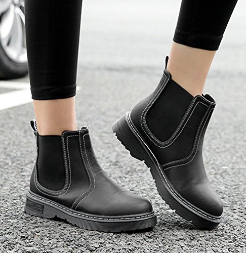 Martin Black Casual Winter Mid Shoes Wid 1 Boots Anguang Women's Comfortable Warm C1wqv5