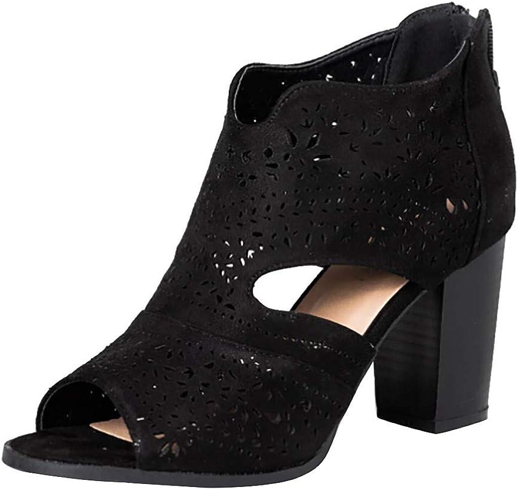 CUCAMM Sandals for Women Womens Casual Shoes Boots Chic Laser-Cut Sandal Heels Zipper Fish Mouth Sandals