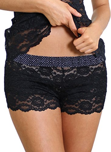 - Foxers Black LACE Boxers with Black and White DOT Band