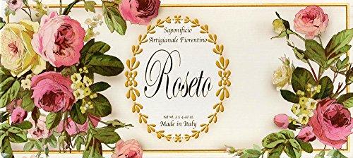 Saponificio Artigianale Fiorentino Luxury Roseto Rose Soap Set 3 X 4.40 From Italy