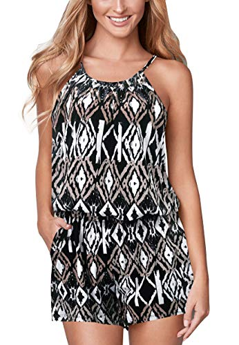 Jusfitsu Womens Summer Jumpsuit Cotton Pocket Short Romper Strappy Sleeveless Loose Playsuit Elastic Band Outfit Solid or Print Aztec M ()