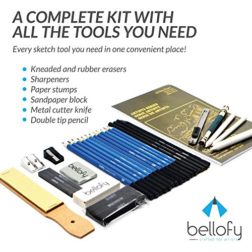 Large Product Image of Bellofy 33-Piece Professional Art Kit - Drawing and Sketch Kit with Pencils, Erasers, Kit Bag and Free Sketchpad - Art Supplies, Drawing Pencils, Graphite Pencils, Sketching Supplies