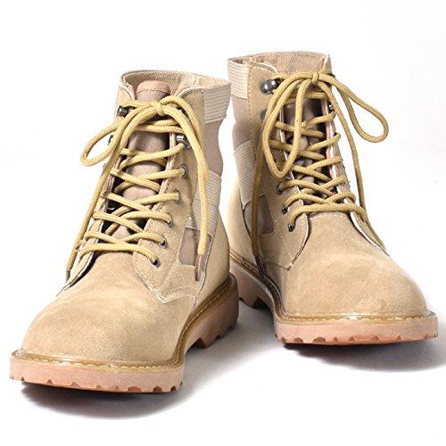 [シュベック] ショートブーツ メンズ カジュアルシューズ レースアップ コンバットブーツ ワークブーツ 紳士靴 茶 ベージュ 42 (26cm)