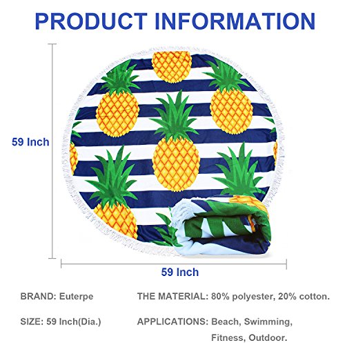 EUTERPE Large Round Beach Towel Thick Multi-Purpose Round Blanket with Tassels,Soft Water Absorbent Room Decor Mat 59 Inch Pineapple Stripe