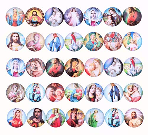 100pcs 12mm Jesus Virgin Mary Crucifix Flat Back Printed Pattern Glass Half Round Dome Cabochons for Photo Craft Jewelry Making (11604)