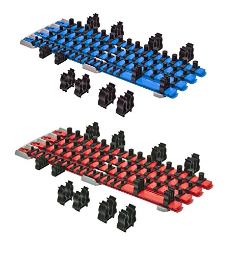 Ernst Mfg 8470 RD + 8471 BL TWIST LOCK Socket Organizer Red / Blue Systems (Bl Twist)
