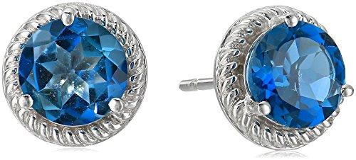 Sterling Silver London Blue Topaz Stud Earrings with Rope (Blue Topaz Rope Earrings)