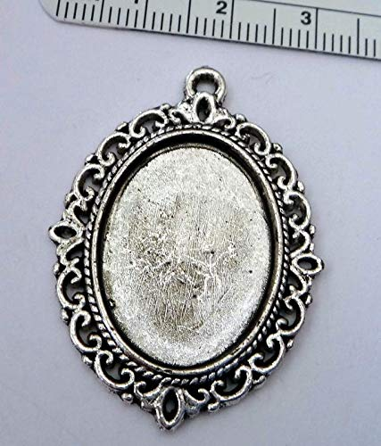 Silver Pewter 40x29mm Fancy Oval Photo Picture Frame 1.5 Long Pendant Charm Vintage Crafting Pendant Jewelry Making Supplies - DIY for Necklace Bracelet Accessories by (Oval Pewter Keychain)