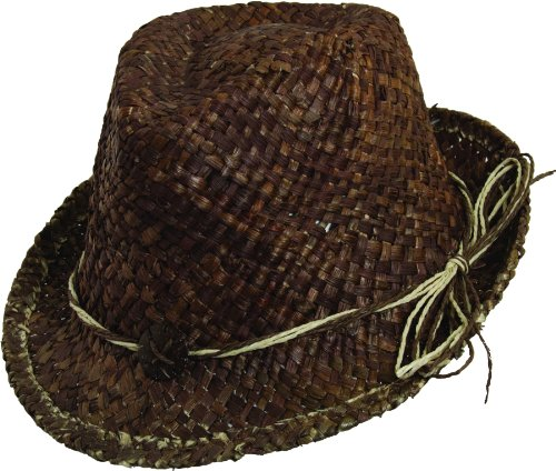 SCALA PRONTO MAIZE FEDORA WITH HEART TRIM (Brown) (Maize Fedora Hat)