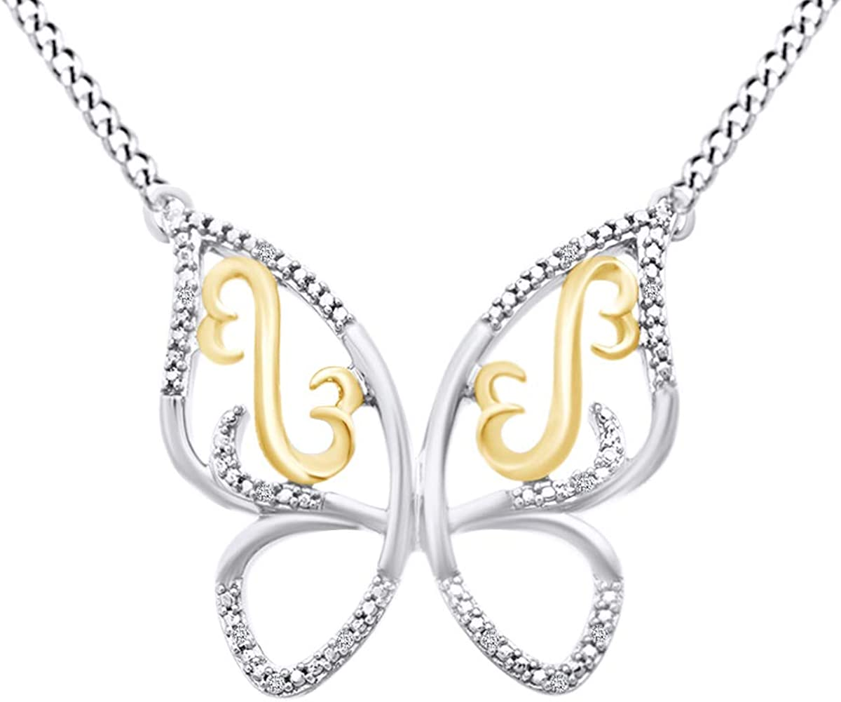 Valentine's Day 0.16 Ct Round Cut Diamond Butterfly Pendant Sterling Silver