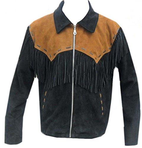 Fringed Mens Jacket - LEATHERAY Men's Fashion Western Cowboy Fringed Jacket Suede Leather Black M