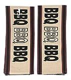 INDIA OVERSEAS Black Red Beige BBQ Kitchen Towels, Set of 2
