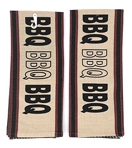 INDIA OVERSEAS Black Red Beige BBQ Kitchen Towels, Set of 2 by INDIA OVERSEAS