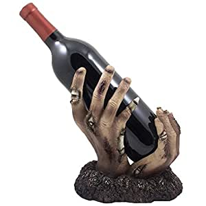 Zombie Rising up From the Grave Wine Bottle Holder Sculpture for Scary Halloween Party Decorations and Spooky Gothic Home Decor Tabletop Wine Racks & Decorative Display Stands As Holiday Gifts for Undead Fans