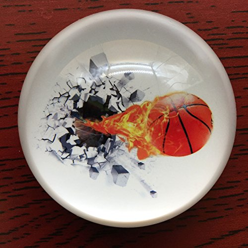 Waltz&F Crystal Basketball Paperweight Galss Globe Hemisphere Home Office Table Decoration