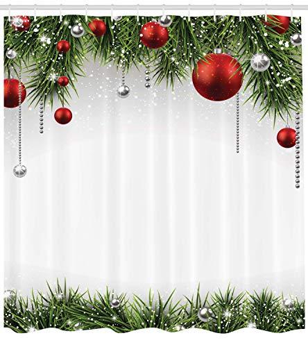 Ambesonne Christmas Shower Curtain Blue White 70 Inches Winter Season Snowman Xmas Tree Santa Sleigh Moon Present Boxes Snow and Stars Fabric Bathroom Decor Set with Hooks