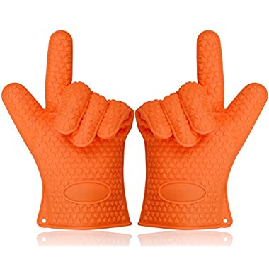 Sundix(TM) Heat Resistant Oven Mitts Five Fingers Non-slip and Waterproof Supreme Silicone Cooking Grilling Gloves for Hands Protection from Baking, BBQ, Grilling, Cooking