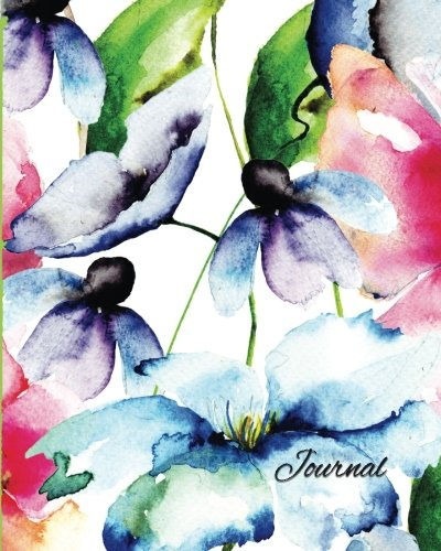 Graph Journal: Watercolor Flowers 8x10: Square Grid Pattern