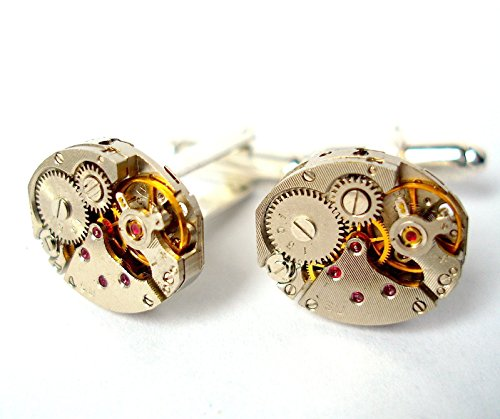 Watch Movement Cufflinks with Rubies Oval Shaped