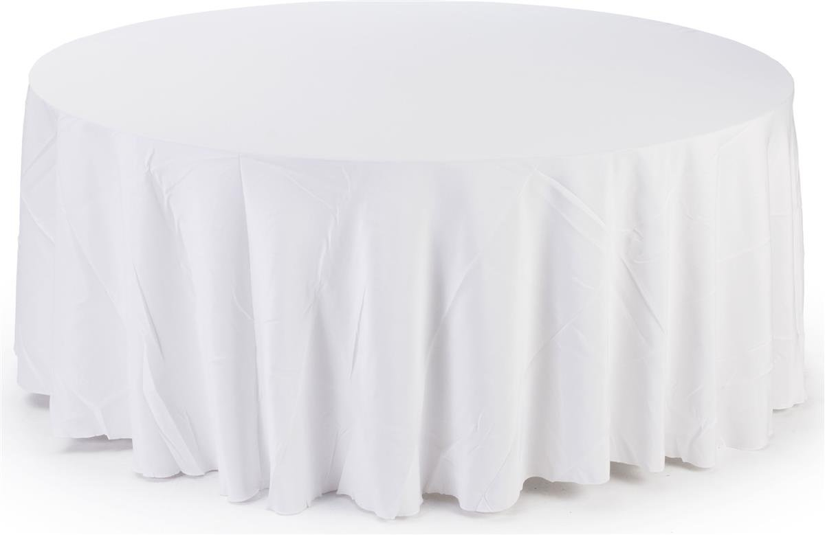 12 Pack 84'' ROUND Table Cover Premium Plastic Tablecloth for any Party or Event (White)
