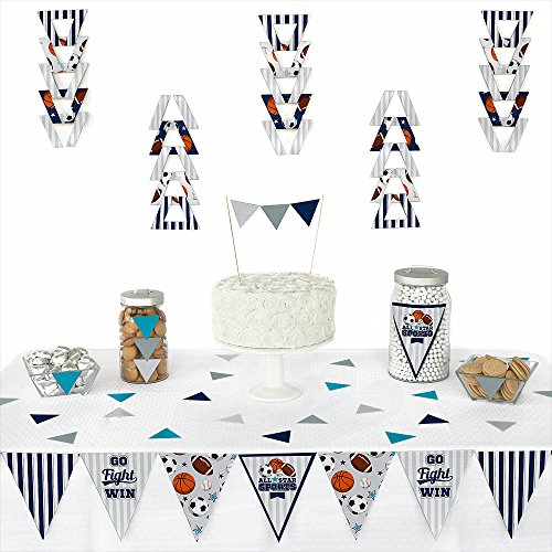 Big Dot of Happiness Go, Fight, Win - Sports - Triangle Baby Shower or Birthday Party Decoration Kit - 72 Piece