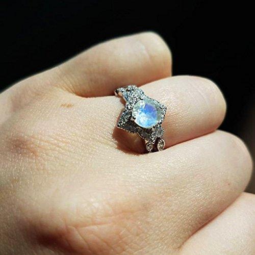 Amazoncom Round Moonstone Bridal Set Rainbow Moonstone Engagement