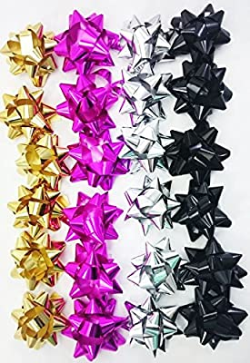 Concept4u 24 Small Metallic Foil Gift Bows Gold Silver Pink Black Christmas Birthday Wrapping Present Party Decoration Craft
